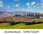sunny day tuscany landscape... | Shutterstock . vector #539671369