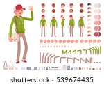 Young man wearing hoodie character creation set. Full length, different views, emotions, gestures, isolated against white background. Build your own design. Cartoon flat-style infographic illustration | Shutterstock vector #539674435