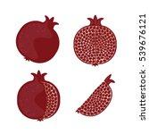 set pomegranate. vector... | Shutterstock .eps vector #539676121