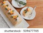 christmas sponge roll on wooden ... | Shutterstock . vector #539677705