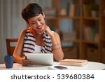 beautiful female student... | Shutterstock . vector #539680384