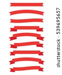 red color ribbon labels set ... | Shutterstock .eps vector #539695657