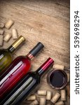 glass bottle of wine with corks ... | Shutterstock . vector #539698294