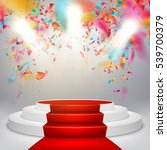 white winners podium with red... | Shutterstock .eps vector #539700379