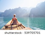 traveling asia. pretty young... | Shutterstock . vector #539705701