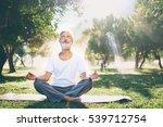yoga at park. senior bearded... | Shutterstock . vector #539712754