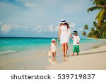 mother and two kids walking on... | Shutterstock . vector #539719837