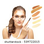contouring.make up woman face....   Shutterstock . vector #539722015
