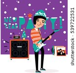 musician playing the guitar at... | Shutterstock .eps vector #539722531