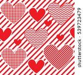 red heart seamless pattern | Shutterstock .eps vector #539723479