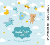 Stock vector baby boy shower card invitation template with cute toys place for your text labels with letters 539738677