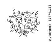muslim couple wedding card. | Shutterstock .eps vector #539741155