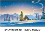 forest landscape with winter... | Shutterstock .eps vector #539750029