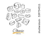 cheese collection. vector hand... | Shutterstock .eps vector #539754511
