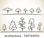 set of hand drawn trees vector... | Shutterstock .eps vector #539764051