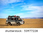KOSH AGACH - SEPTEMBER 20: Travel Car  on the road .2009 in Altay, Russia - stock photo
