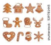 gingerbread set. vector... | Shutterstock .eps vector #539781445