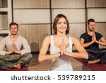 group of people making yoga...   Shutterstock . vector #539789215