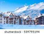 wooden chalet  houses and snow... | Shutterstock . vector #539795194