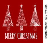 merry christmas doodle card.... | Shutterstock .eps vector #539796985