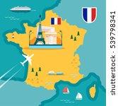 vector map of france in flat... | Shutterstock .eps vector #539798341