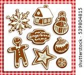 christmas gingerbread cookies... | Shutterstock .eps vector #539804815