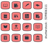 set of 16 simple reading icons. ... | Shutterstock .eps vector #539806111