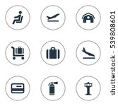 set of 9 simple travel icons.... | Shutterstock .eps vector #539808601