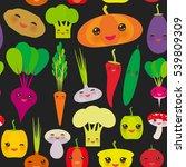 seamless pattern kawaii bell... | Shutterstock . vector #539809309