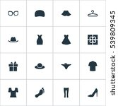 set of 16 simple wardrobe icons.... | Shutterstock .eps vector #539809345