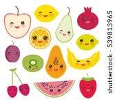 set strawberry  orange  banana... | Shutterstock . vector #539813965