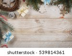 top view on wooden table with... | Shutterstock . vector #539814361