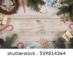 top view on wooden table with... | Shutterstock . vector #539814364