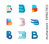 letter b logo set. color icon...