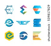 letter e logo set. color icon... | Shutterstock .eps vector #539817829