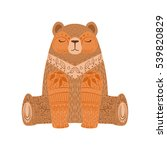 brown bear relaxed cartoon wild ... | Shutterstock .eps vector #539820829
