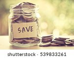 coins in glass jar for money...   Shutterstock . vector #539833261