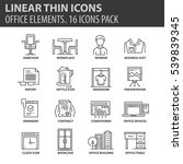 set of thin line flat icons.... | Shutterstock .eps vector #539839345