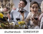 Small photo of Cropped shot of a young couple talking with their elderly parents and drinking red wine