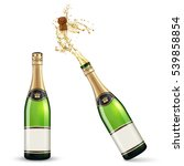 vector bottles of champagne | Shutterstock .eps vector #539858854