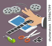 mobile video editor flat vector ...