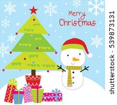 christmas card with cute snowman | Shutterstock .eps vector #539873131