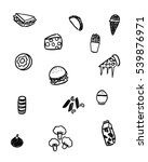 black and white foods doodle art | Shutterstock .eps vector #539876971