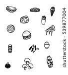 black and white foods doodle art | Shutterstock .eps vector #539877004