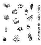 black and white foods doodle art   Shutterstock .eps vector #539877091