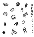 black and white foods doodle art | Shutterstock .eps vector #539877154
