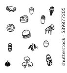 black and white foods doodle art | Shutterstock .eps vector #539877205