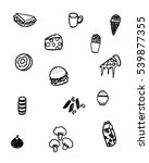 black and white foods doodle art | Shutterstock .eps vector #539877355