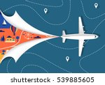 airplane flying over the map.... | Shutterstock .eps vector #539885605