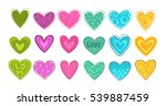 funny colorful hearts patch set.... | Shutterstock .eps vector #539887459